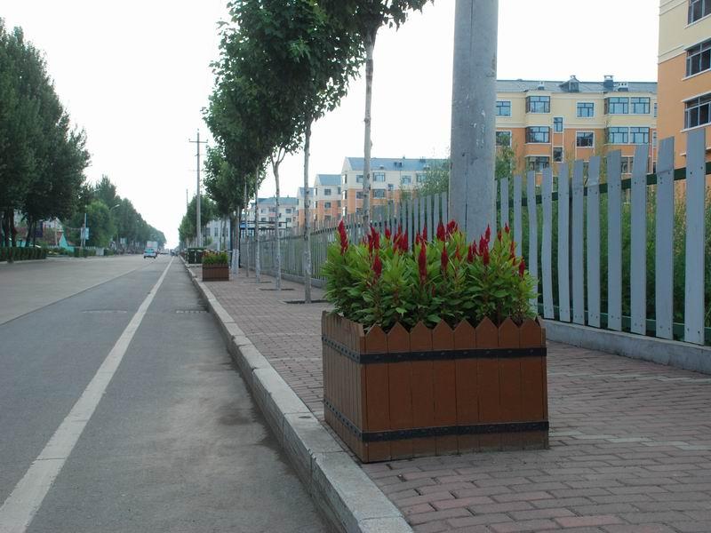 宝山区银河大街路边塑木花箱